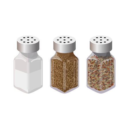 Set of spices in dispensers. Salt and pepper shakers. Vector illustration isolated on the white background
