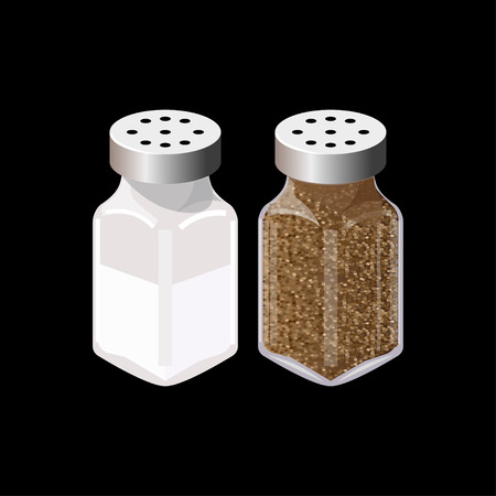 Salt and pepper shakers isolated. Vector illustration Illustration