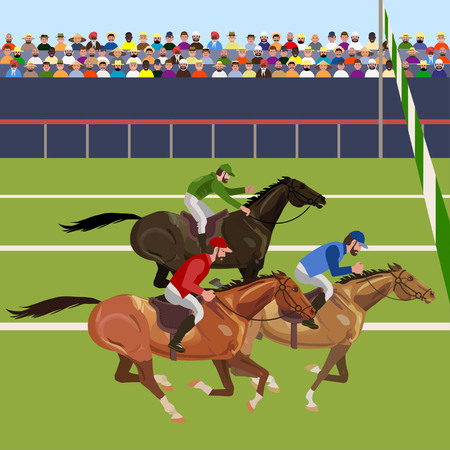 Horse racing competition. Vector illustration Reklamní fotografie - 87483231