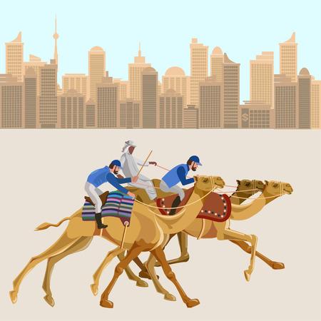 Camel racing. Vector illustration Illustration