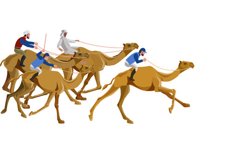 Camel racing. Vector illustration Иллюстрация