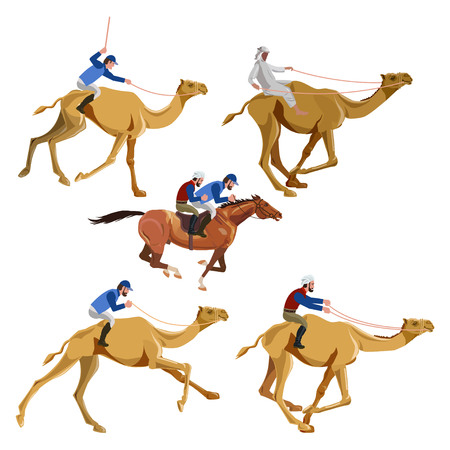 Running camels and horse with riders. Vector illustration