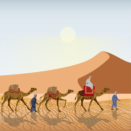 Caravan in the desert. Vector illustration