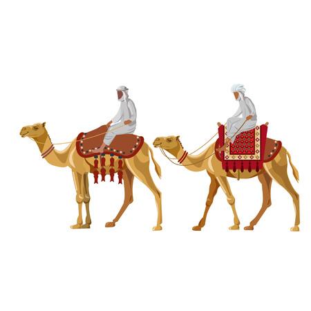 Arabische mannen die op een kameel rijden. Vectorillustratie geïsoleerd op witte achtergrond