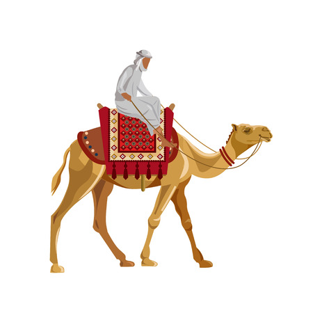 Arabischer Mann, der ein Kamel reitet. Vektorillustration lokalisiert auf weißem Hintergrund Standard-Bild - 87405825