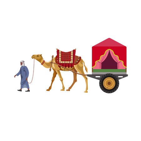 Decorated camel carriage. Vector illustration