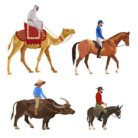 Set of riders on different animals. Vector illustration Illustration