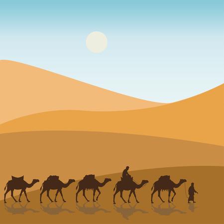 Karawane in der Wüste. Vektor-Illustration Standard-Bild - 87337921
