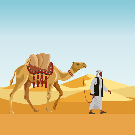 thobe: Cameleer (camel driver) with camel in a desert. Vector illustration
