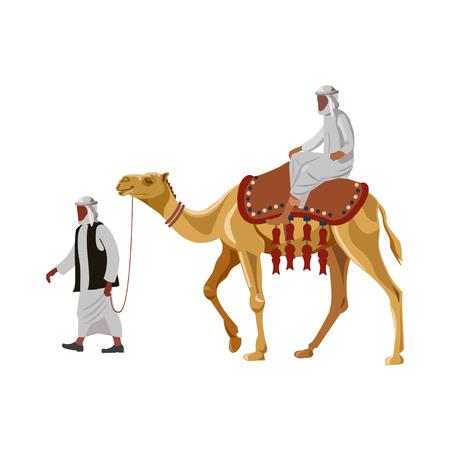 Arabische man die een kameel berijdt. Vector illustratie geïsoleerd op een witte achtergrond