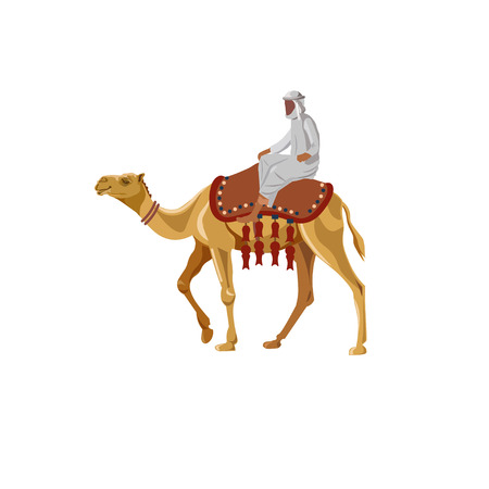 thobe: Arab man riding a camel. Vector illustration isolated on white background
