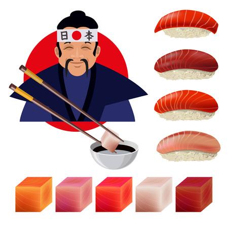 Japanese man with sushi set. Vector illustration isolated on the white background Illustration