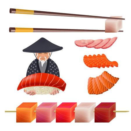 Japanese old man with sushi set. Vector illustration isolated on the white background