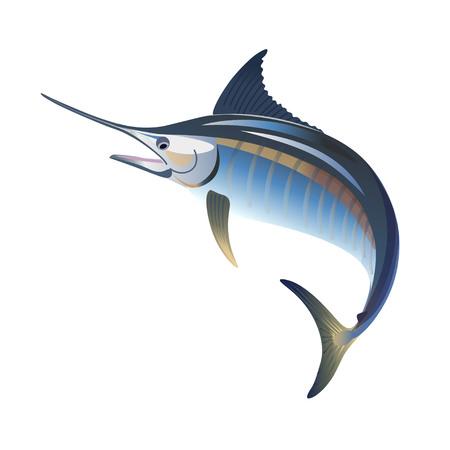 Blauwe marlijn springen. Vectorillustratie geïsoleerd op de witte achtergrond