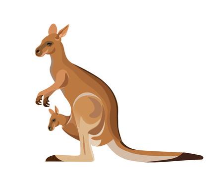 Kangoeroemoeder die een baby in zijn zak dragen. Vectorillustratie geïsoleerd op de witte achtergrond
