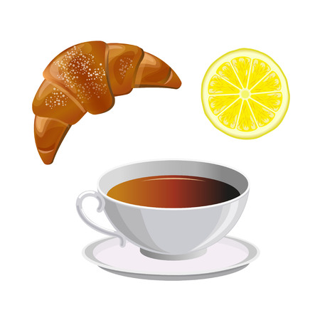 Cup of black tea with lemon and croissant. Vector illustration isolated on the white background Illustration
