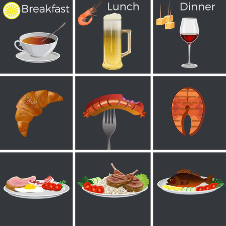 Set of breakfast lunch and dinner. Vector illustration isolated on black background