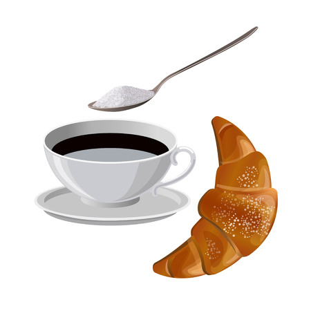 Cup of coffee with croissant. Vector illustration isolated on the white background