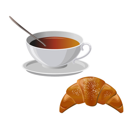 Cup of black tea with croissant. Vector illustration isolated on the white background Illustration