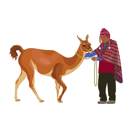 Peruvian peasant in national dress with guanaco. Vector illustration isolated on the white background