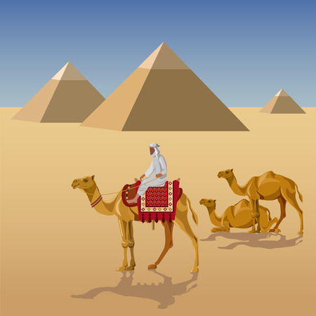 Camelcade in desert with egyptian pyramids. Vector illustration