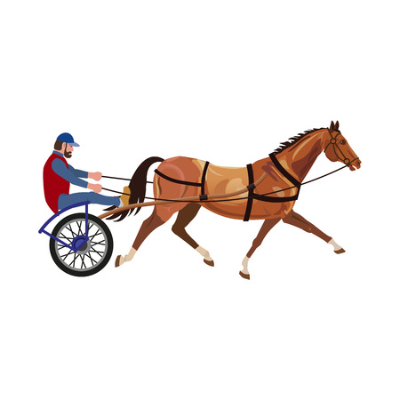 Harness racing. Horse and jockey. Vector illustration isolated on white background.