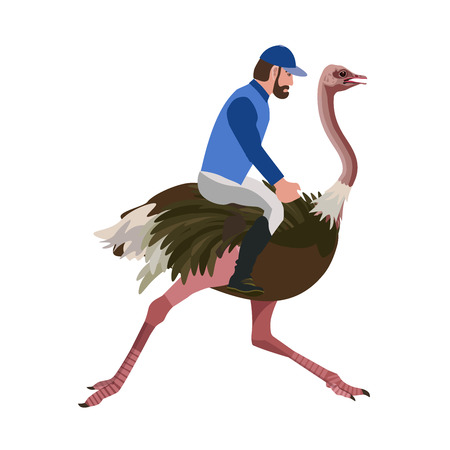 Man riding an ostrich. Vector illustration isolated on the white background. Illustration