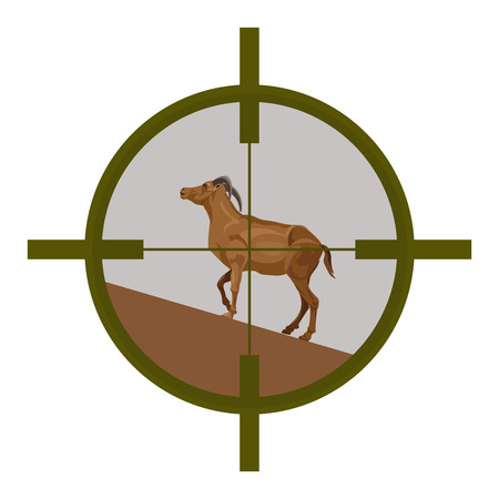 Wild goat seen in the cross-hairs of the scope of a rifle. Vector illustration. Illustration