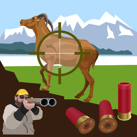 Wild goat and hunter in the background of a mountain landscape. Vector illustration.