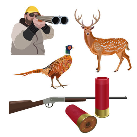 Set of hunting sport. Vector illustration isolated on the white background.