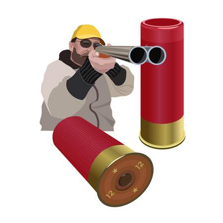Hunter aiming a double barreled shotgun and 12-gauge shells. Vector illustration isolated on the white background.