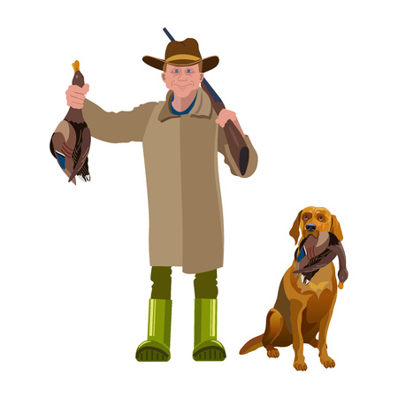 Hunter with his dog holding a duck. Vector illustration isolated on the white background.