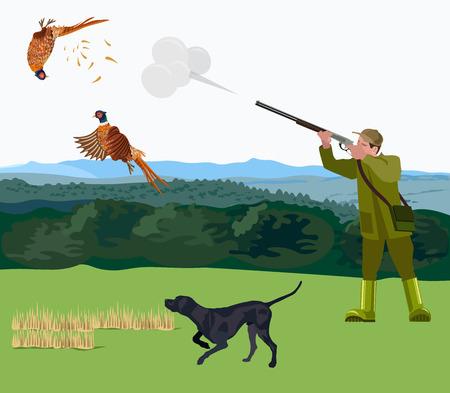 Chasseur avec un chien de chasse tire un faisan. Illustration vectorielle Banque d'images - 92992194