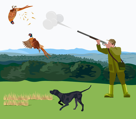 Hunter with a hunting dog shoots a pheasant. Vector illustration. Stock Illustratie