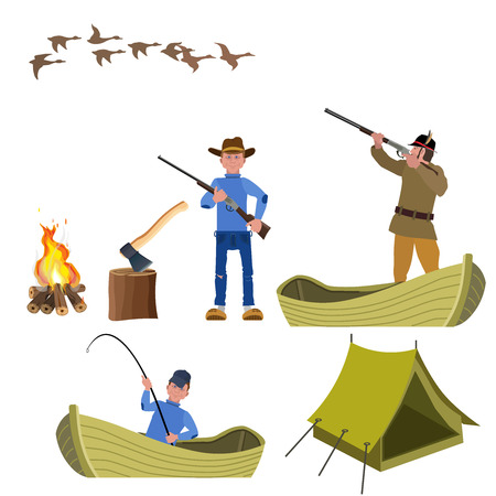 Set of vector illustration for hunting and fishing. Vector isolated on the white background.