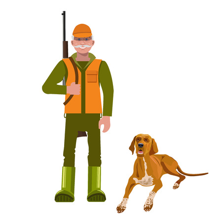 Hunter with his dog. Vector illustration isolated on the white background. Illustration