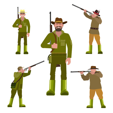 Hunters with a gun in various poses. Set of vector illustration isolated on the white background.