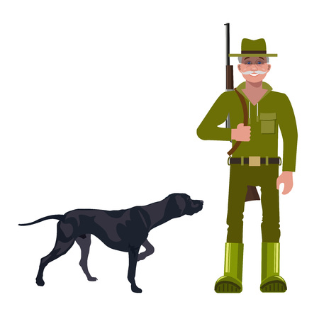 Hunter with gun and hunting dog. Vector illustration isolated on the white background. Illustration