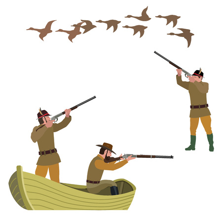 Set of duck hunting. Vector illustration isolated on the white background.