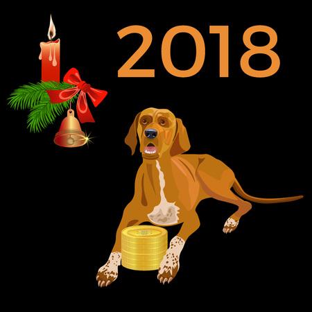 Yellow dog. Symbol of 2018 year on Chinese calendar. Vector illustration.