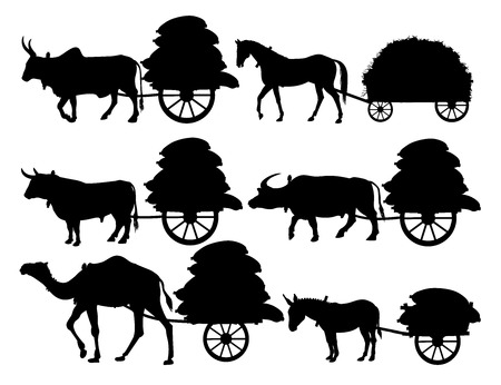 Silhouettes of animal-powered transport. Vector illustration