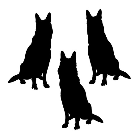 Set of german shepherd dogs silhouettes. Vector illustration isolated on the white background