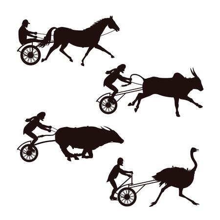 シルエット馬、雄牛とダチョウレースのセット。.ベクトルイラストは、白い背景に分離されています。