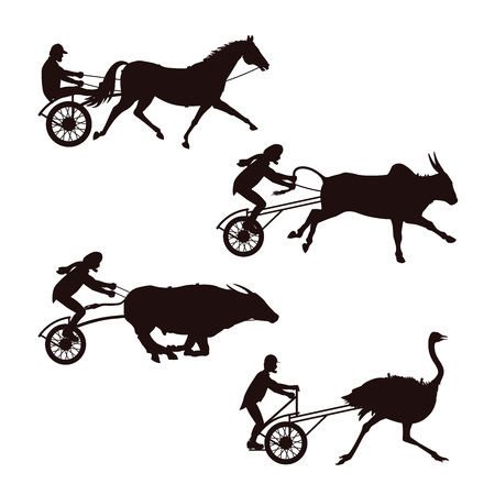 Set of silhouettes horse, bulls and ostrich races. . Vector illustration isolated on white background.