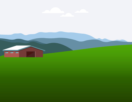 Highland pasture. Vector illustration