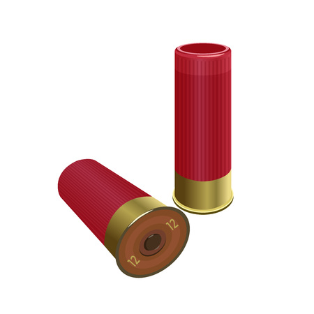 Shotgun shells. Vector illustration isolated on the white background Иллюстрация
