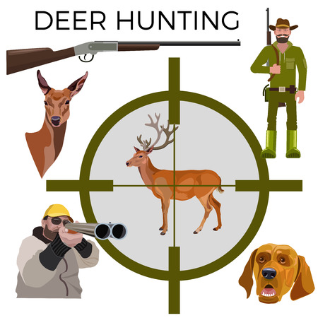 Set of vector illustration for deer hunting - hunters, rifle, deer and dog. Vector isolated on the white background