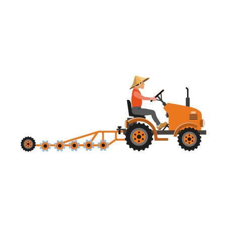 Asian farmer harrowing with tractor and disk harrow. Vector illustration isolated on white background