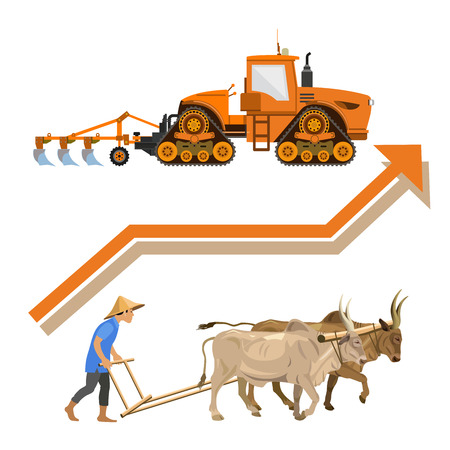 Plowing with cattle and modern tractor. Vector illustration isolated on white background Иллюстрация