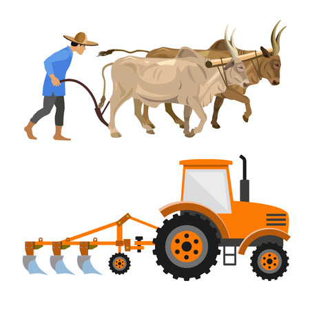 Plowing with cattle and farm tractor. Vector illustration isolated on white background Ilustração